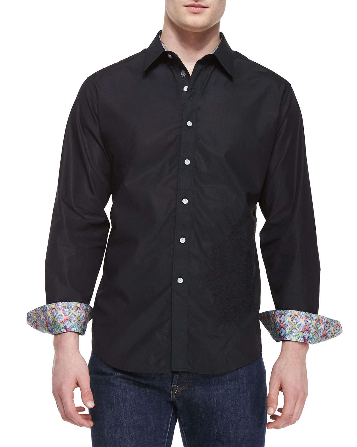 Lyst robert graham tonal embroidery sport shirt in black for Where are robert graham shirts made