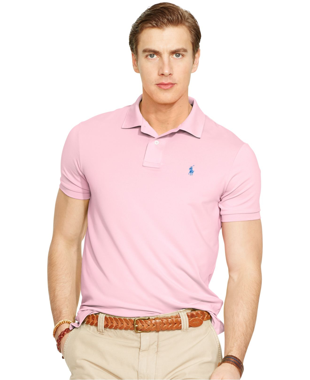 Lyst polo ralph lauren performance jersey polo shirt in for Man in polo shirt