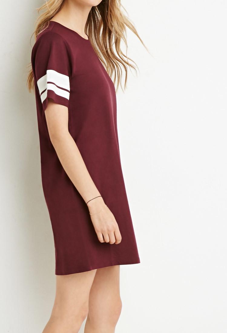 e4026743028f Lyst - Forever 21 Varsity-striped T-shirt Dress in Purple