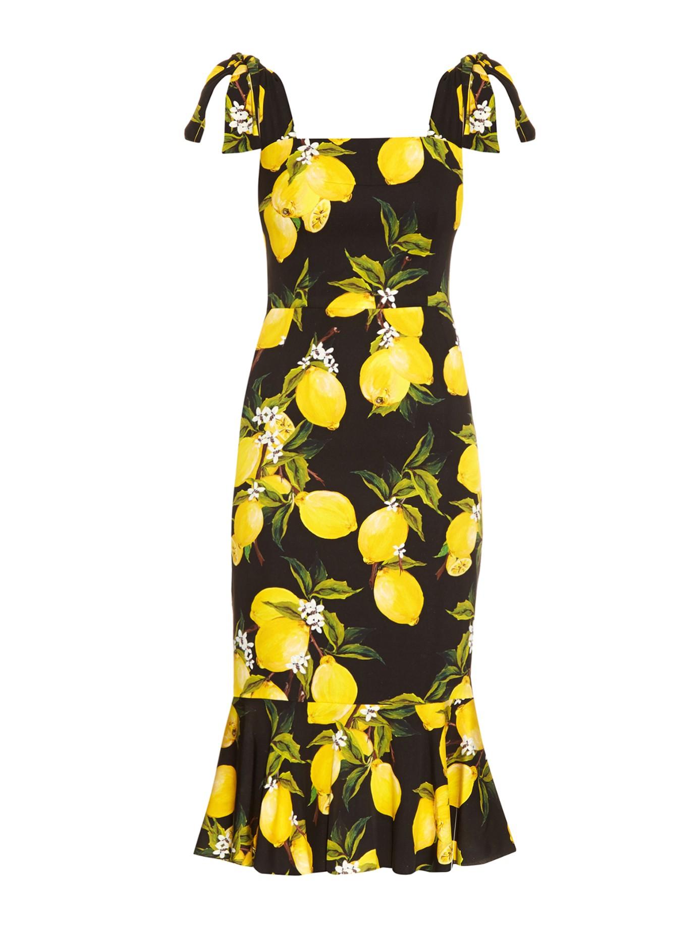 fd8981358a94 Dolce & Gabbana Lemon-print Fluted-hem Straps Dress in Yellow - Lyst