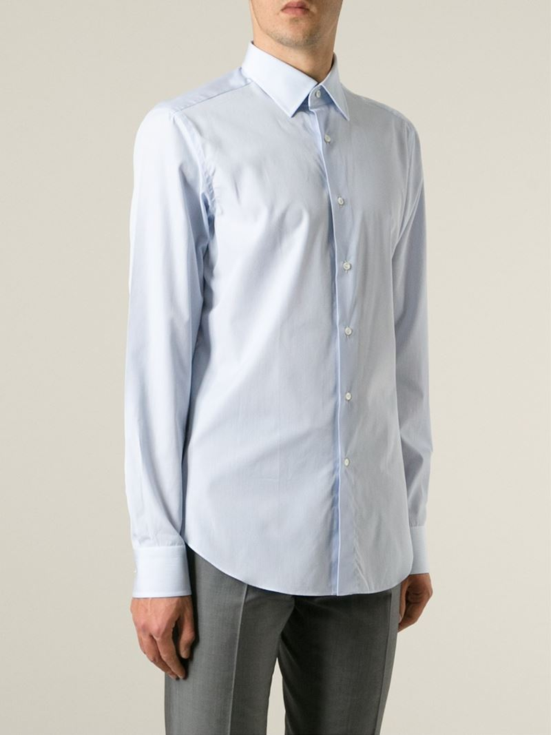 Lyst Brioni Classic Button Down Shirt In Blue For Men