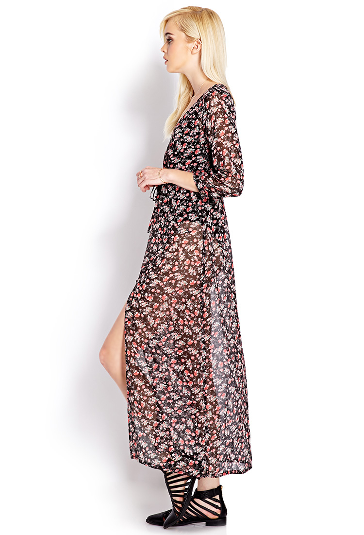 Forever 21 Festive Floral Maxi Cardigan in Black | Lyst