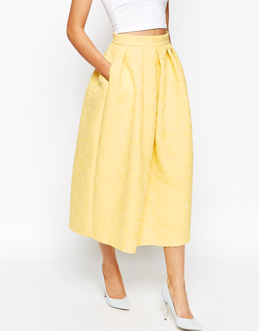 bbf70d1b71 Closet Full Prom Midi Skater Skirt In Jacquard in Yellow - Lyst