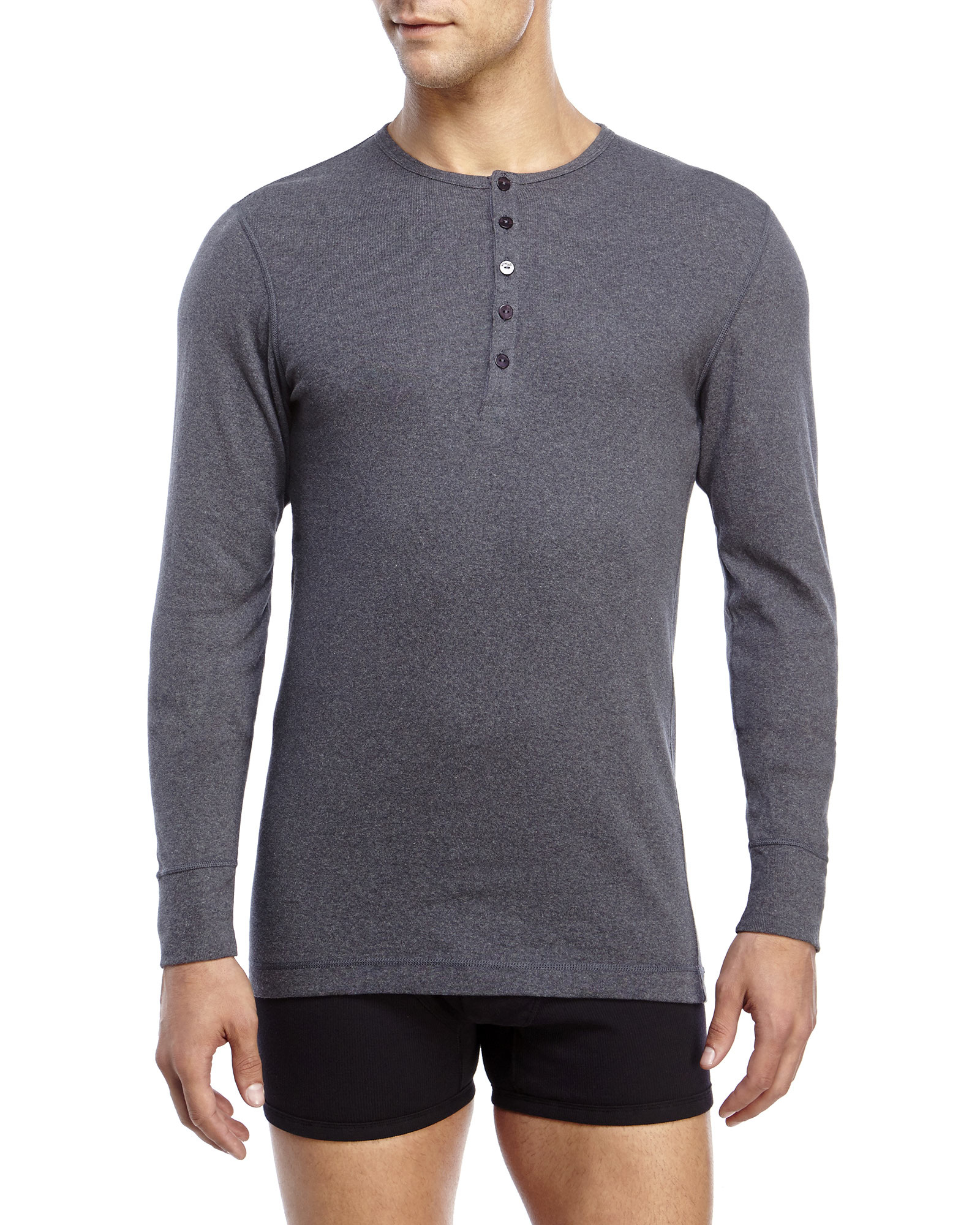 7b3105b8 2xist 2(X)Ist Essential Long Sleeve Henley in Gray for Men - Lyst
