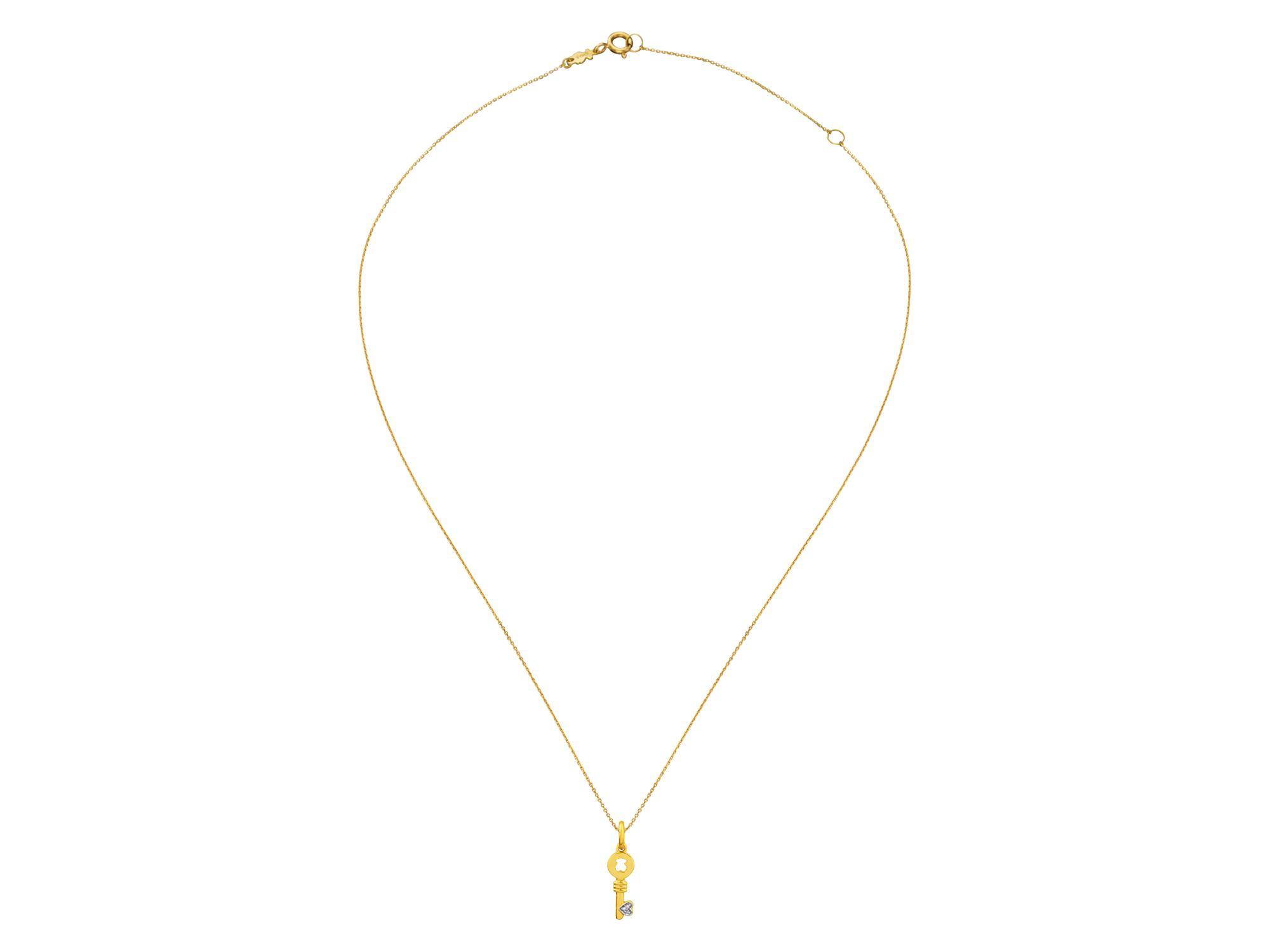 "Tous Diamond Heart Key Pendant Necklace 16"" in Metallic"