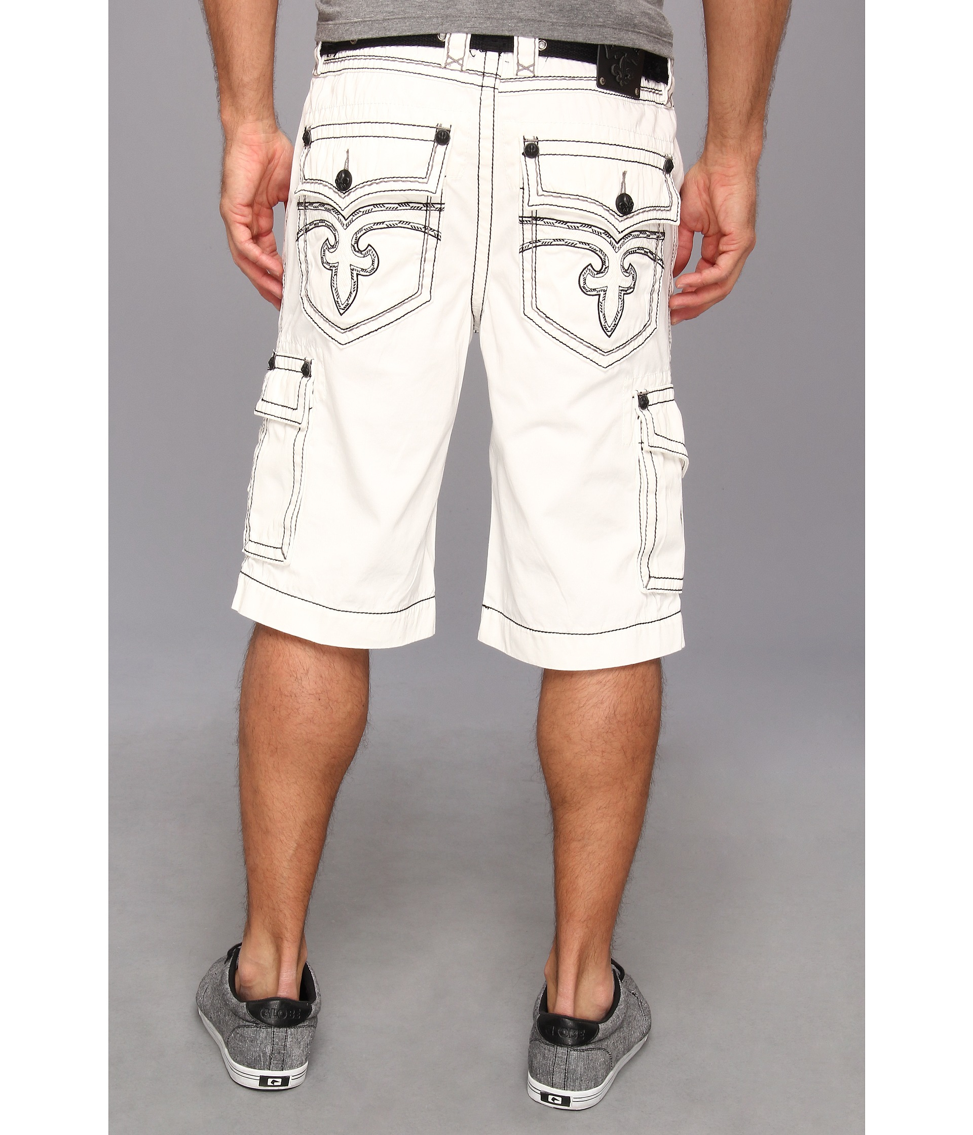 Rock revival Multi Pocket Cargo Short in White for Men | Lyst