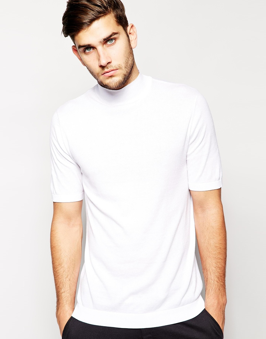 Lyst Asos Knitted T Shirt With Turtleneck In White For Men