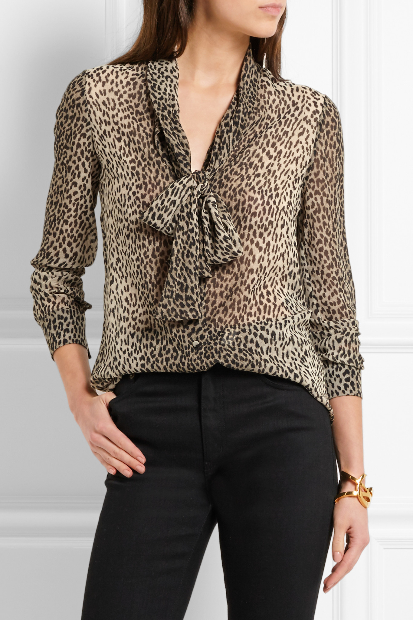 df28c3c388 Saint Laurent Pussy-bow Leopard-print Silk-georgette Shirt - Lyst