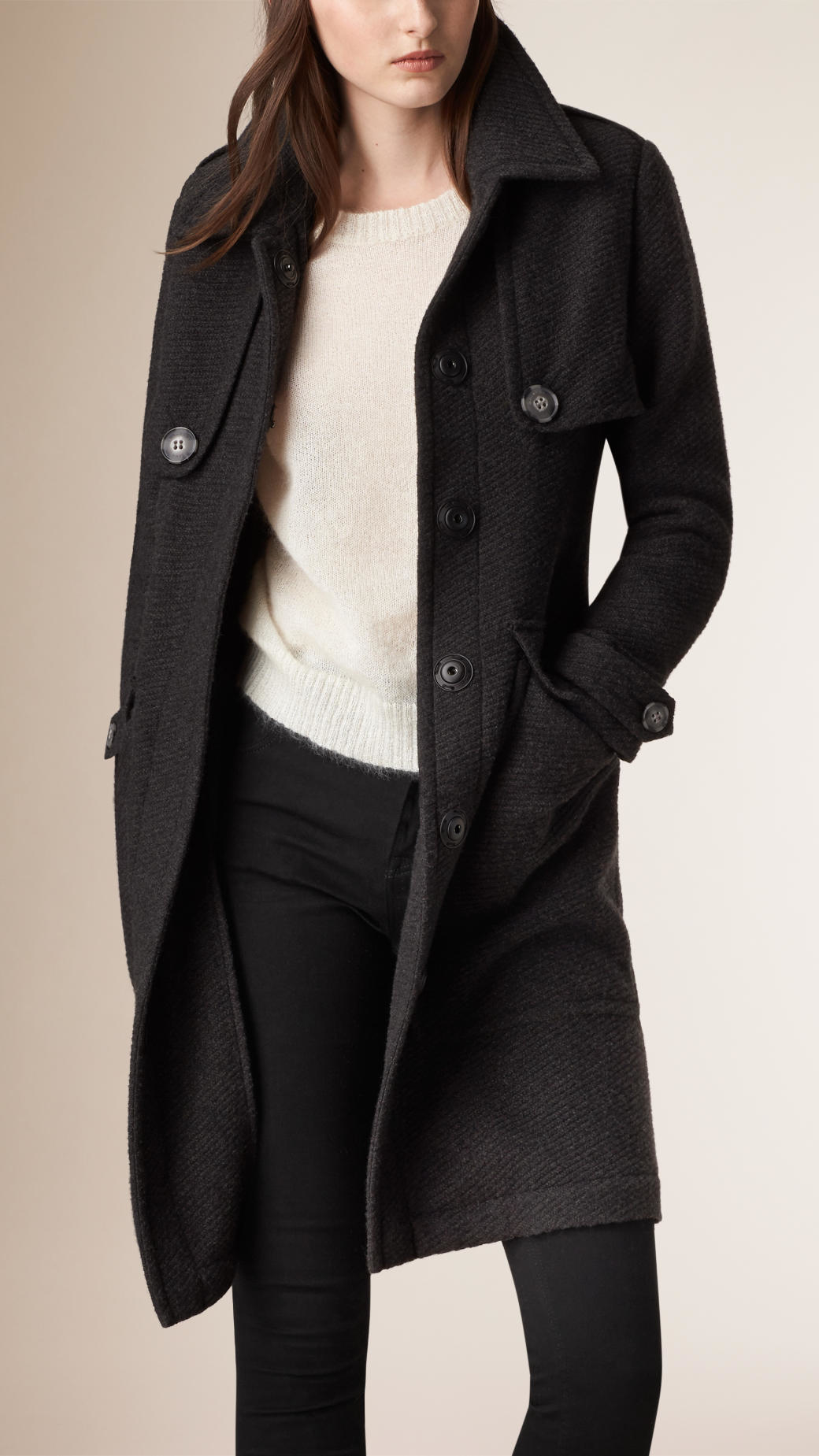 Burberry Cashmere Cardigan Coat in Gray | Lyst