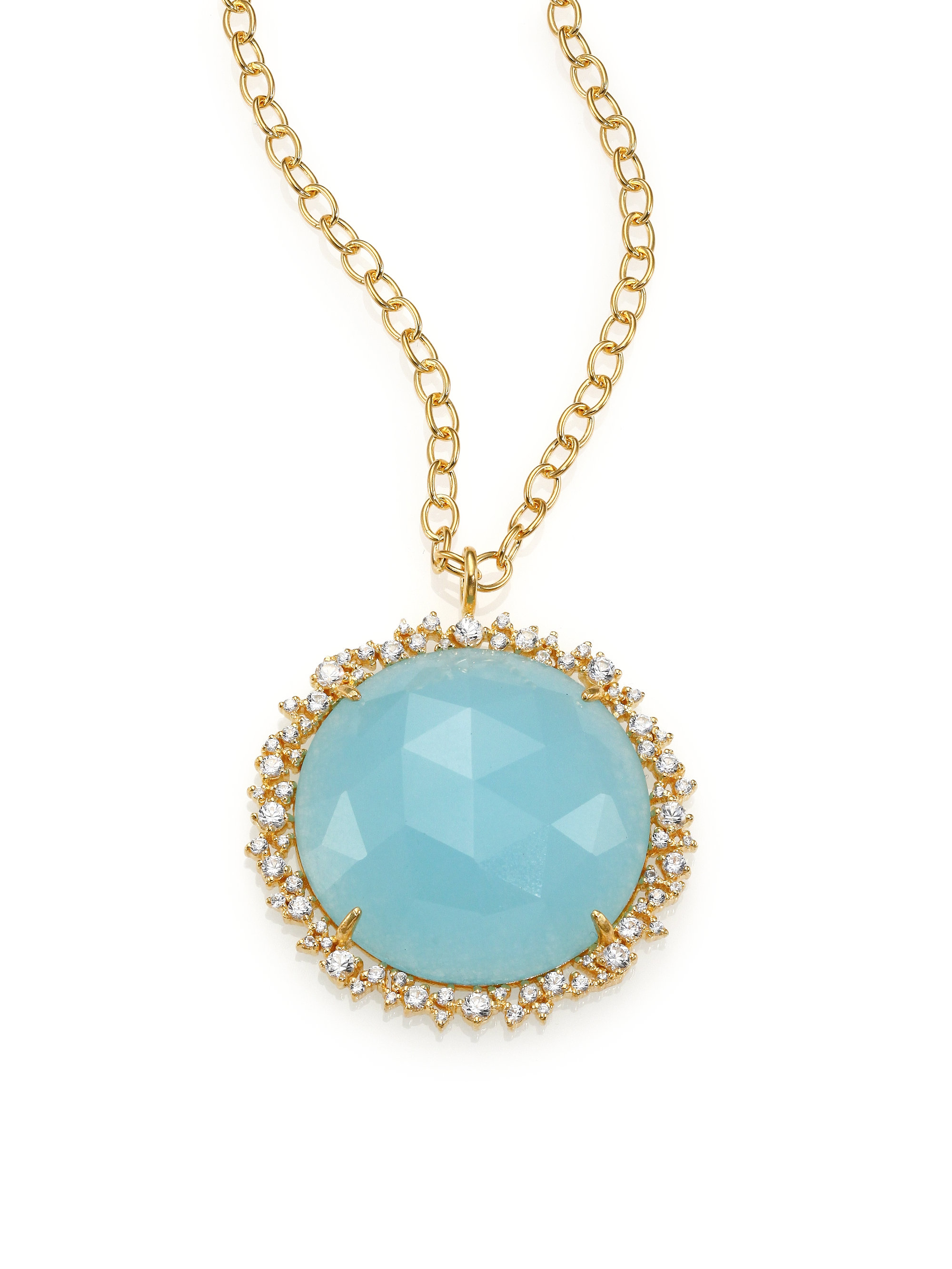 gold light stone necklace blue brass platted