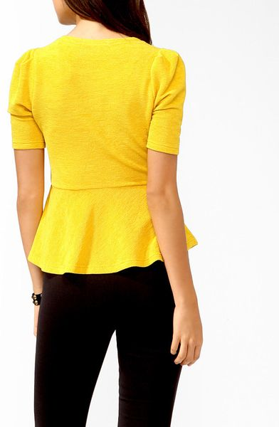 Forever 21 Matelassé Peplum Top in Yellow