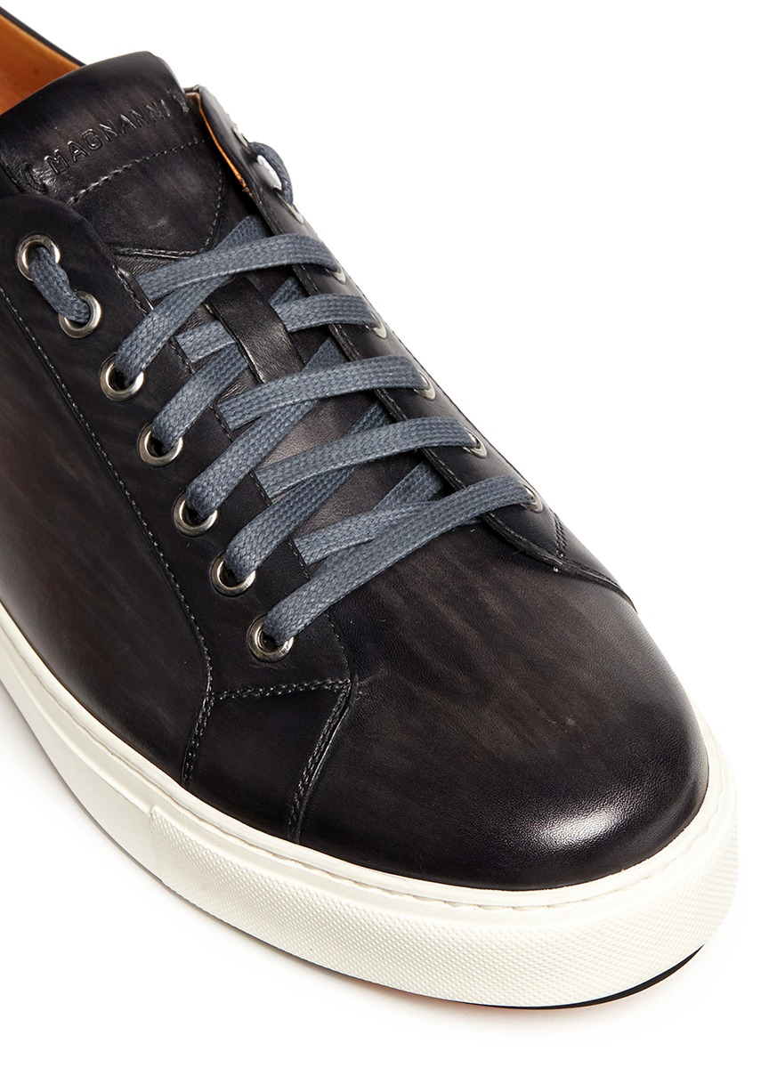 saks fifth avenue dye seven eyelet leather sneakers