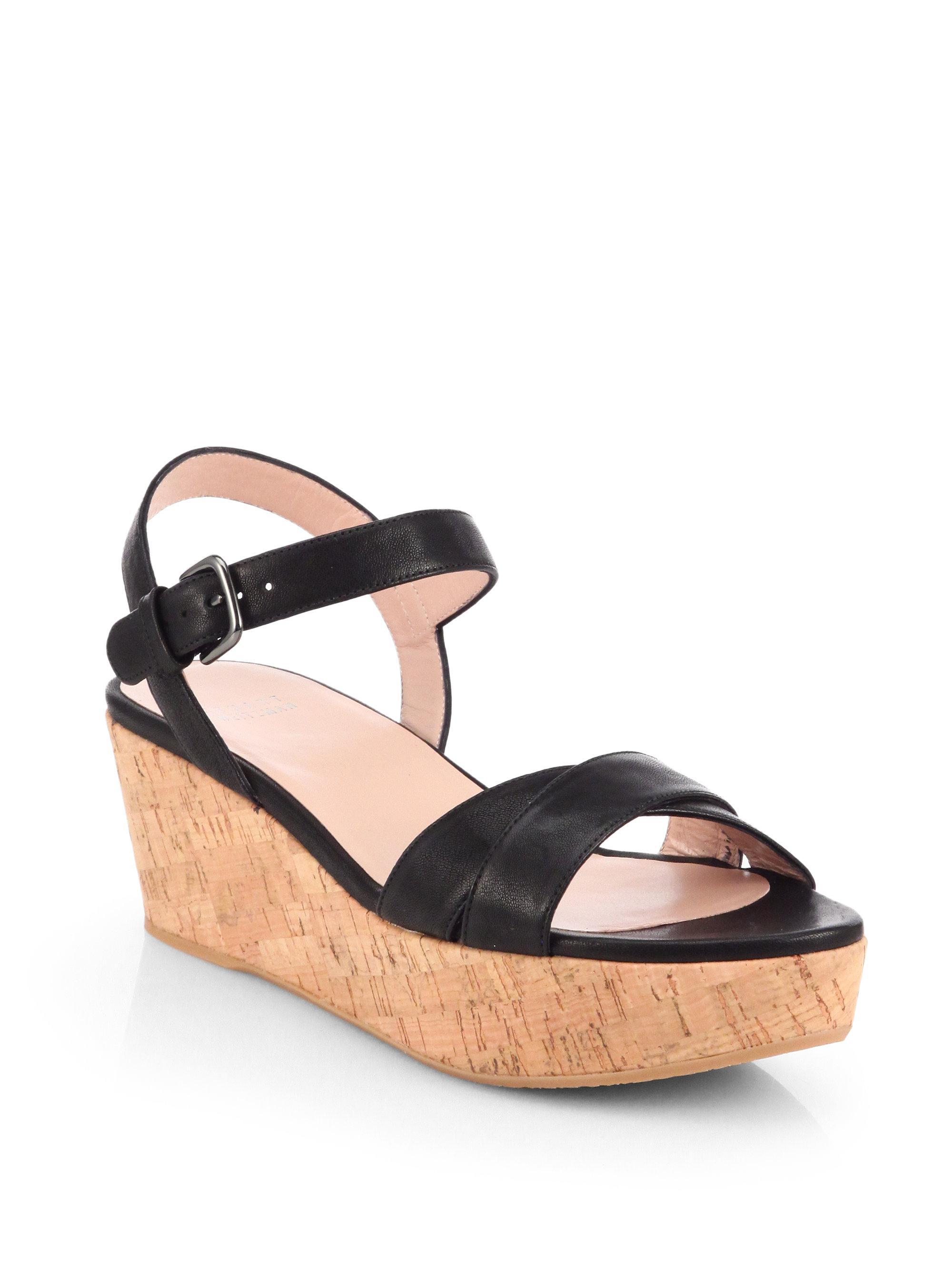 ef0210bcd75 Lyst - Stuart Weitzman Crosson Cork Platform Sandals in Black