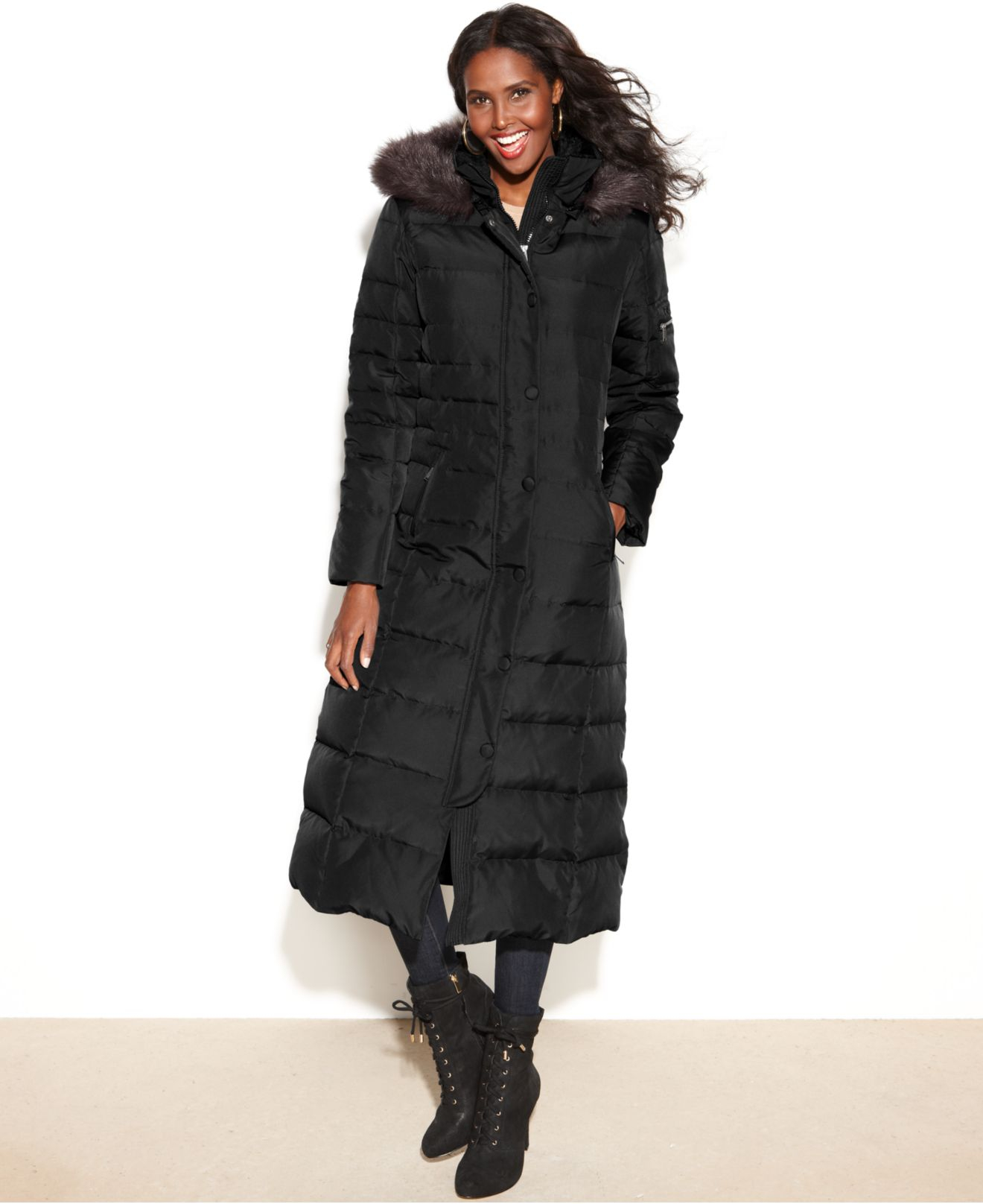 Dkny Petite Hooded Faux-Fur-Trim Maxi Down Puffer Coat in ...