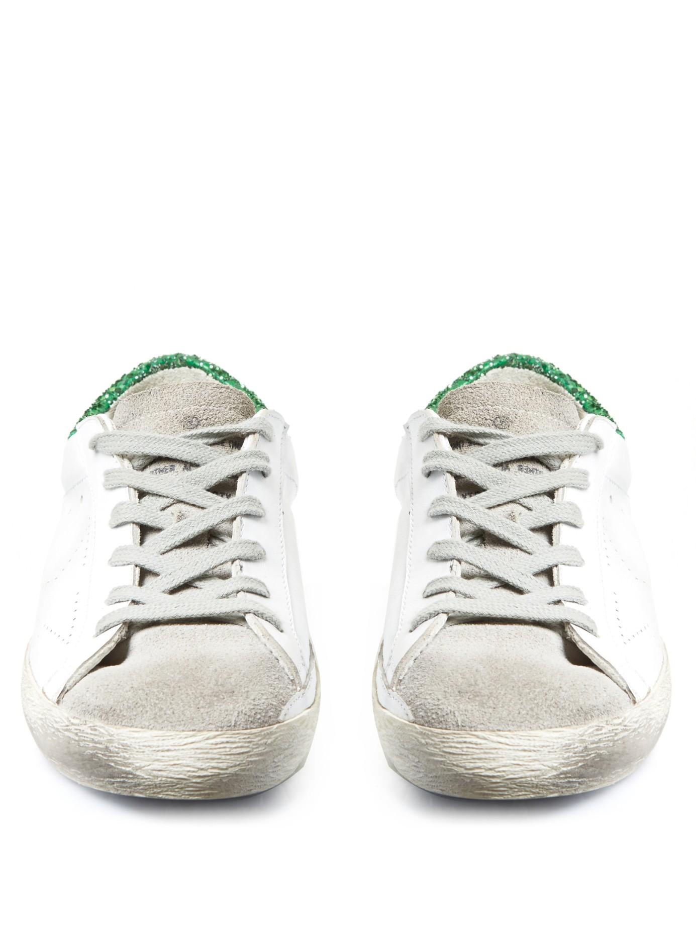 Superstar Glitter-Embellished Leather Sneakers Golden Goose DQUzI