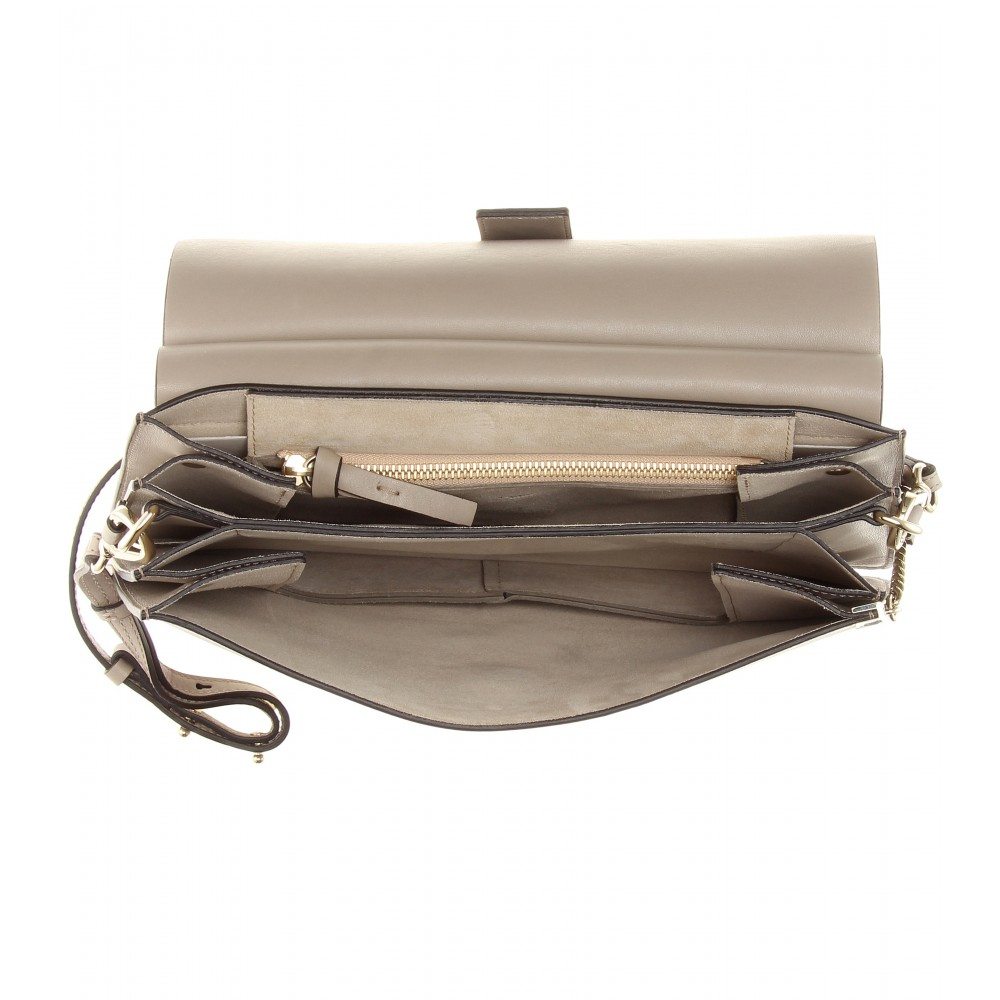 Chlo�� Faye Leather and Suede Shoulder Bag in Gray (grey) | Lyst