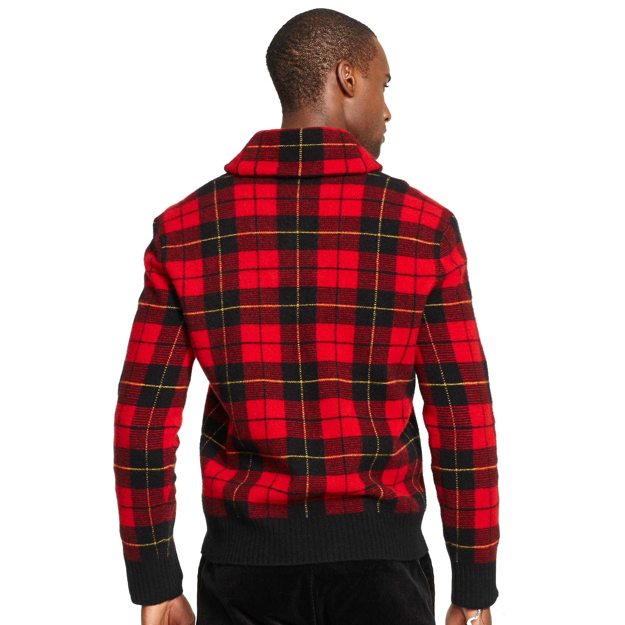 Lyst Polo Ralph Lauren Plaid Shawl Collar Sweater In Red