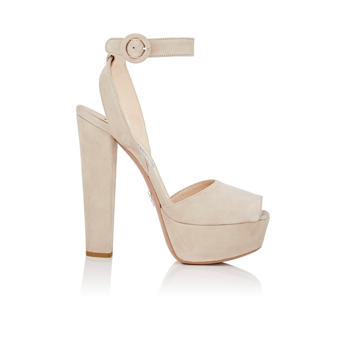 256a9a074fe Lyst - Prada Suede Platform Sandals in Natural