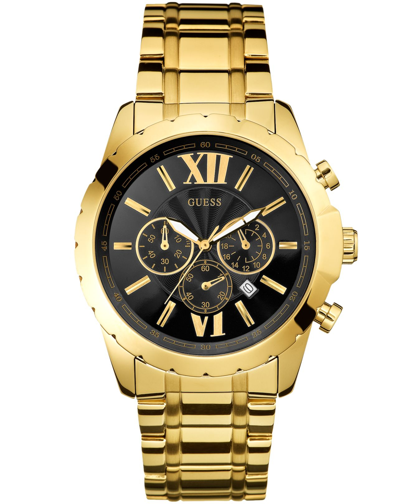 Guess watch men 39 s chronograph gold tone stainless steel bracelet 45mm u0193g1 in black for men for Watches guess