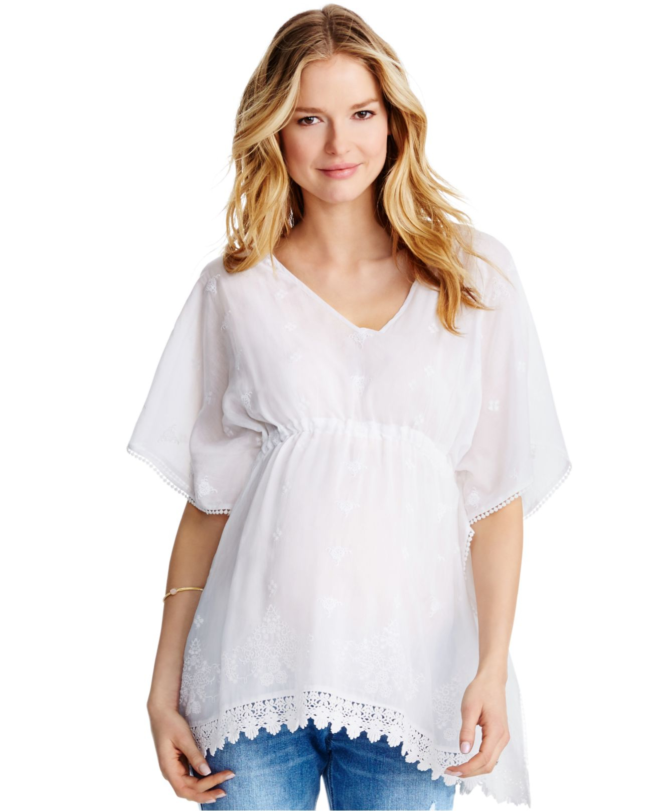 1102687cc8bd8 Lyst - Jessica Simpson Maternity Lace-trim Peasant Blouse in White