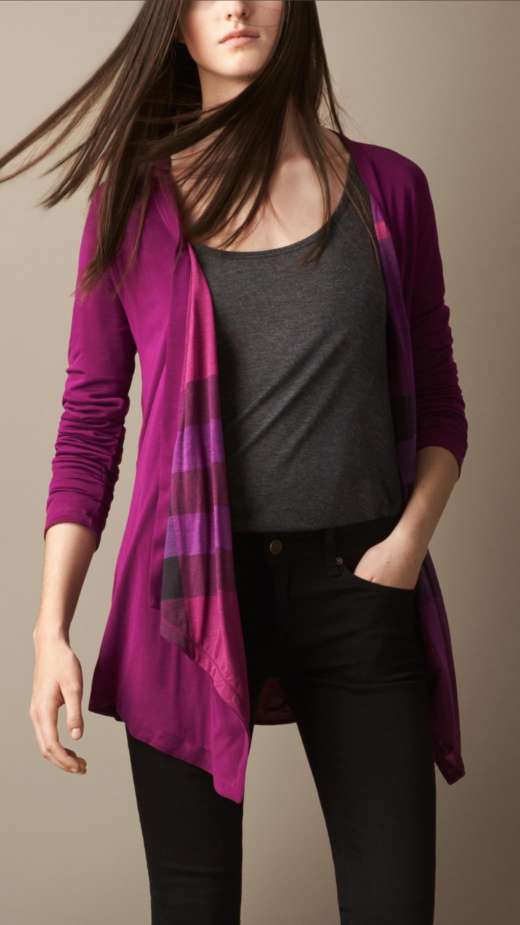 Burberry Reversible Waterfall Jersey Cardigan in Purple | Lyst