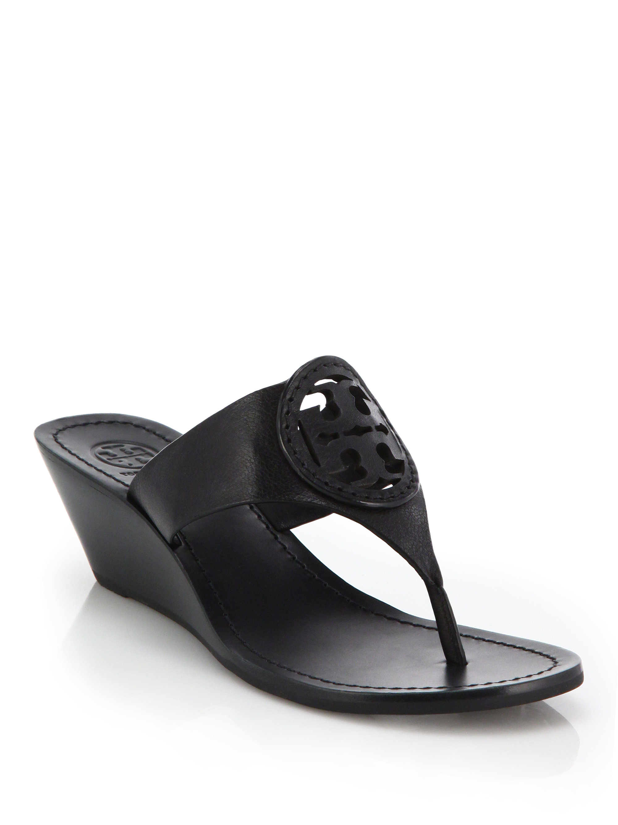 aba4f8f75 Lyst - Tory Burch Louisa Leather Thong Wedge Sandals in Black