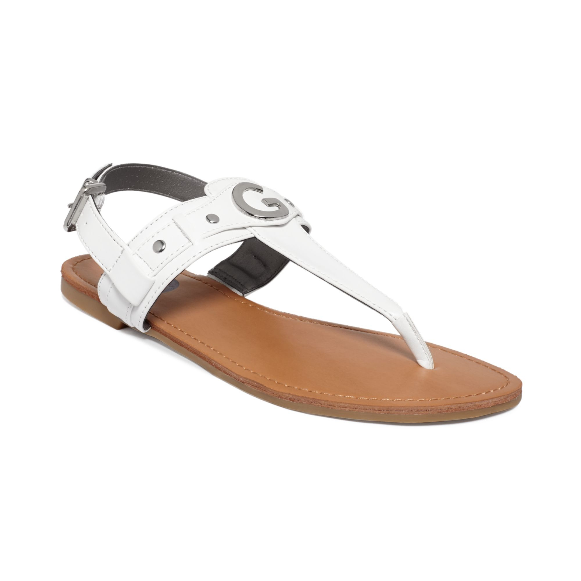 ab4782cc86e82d Lyst - G by Guess Womens Lundon Flat Thong Sandals in White