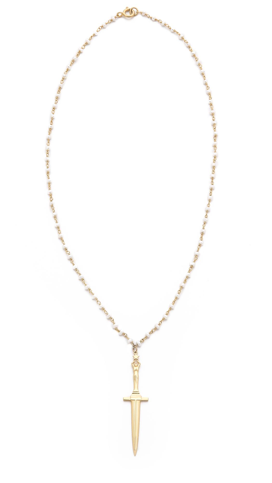 Top Lyst - Pamela Love Dagger Pendant Necklace in Metallic KL61