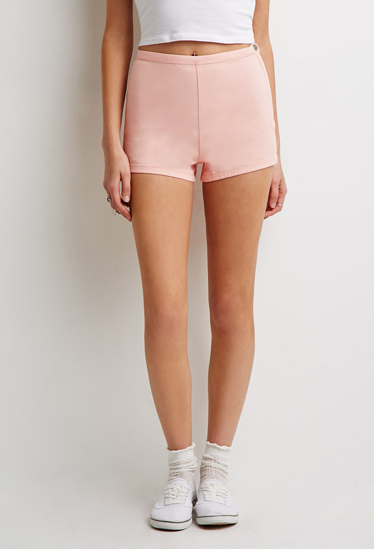 Forever 21 High-waisted Chino Shorts in Orange | Lyst
