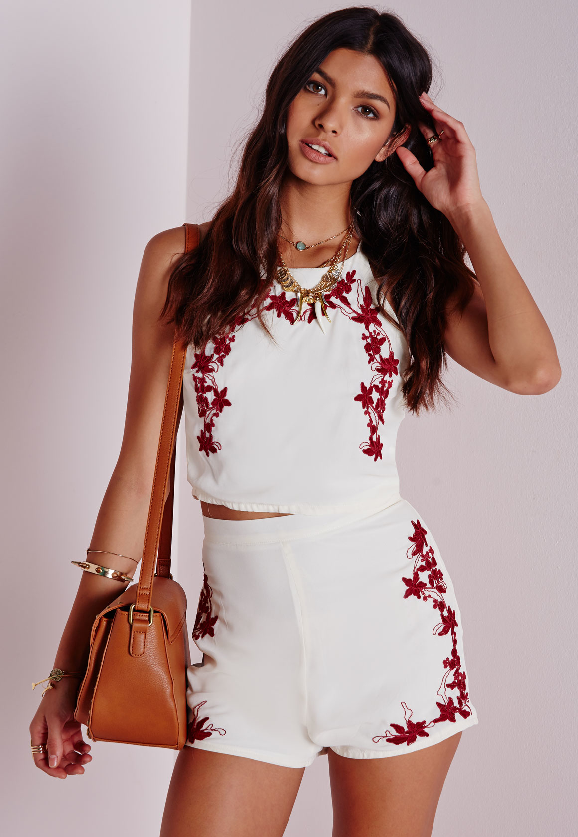 Missguided Floral Embroidered High Waisted Shorts White | Lyst