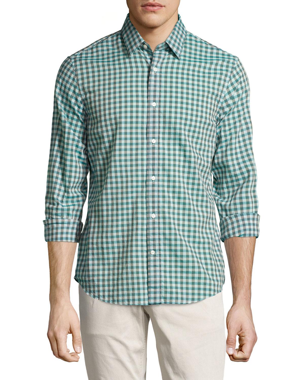 Vince Gingham Poplin Shirt In Green For Men Lyst
