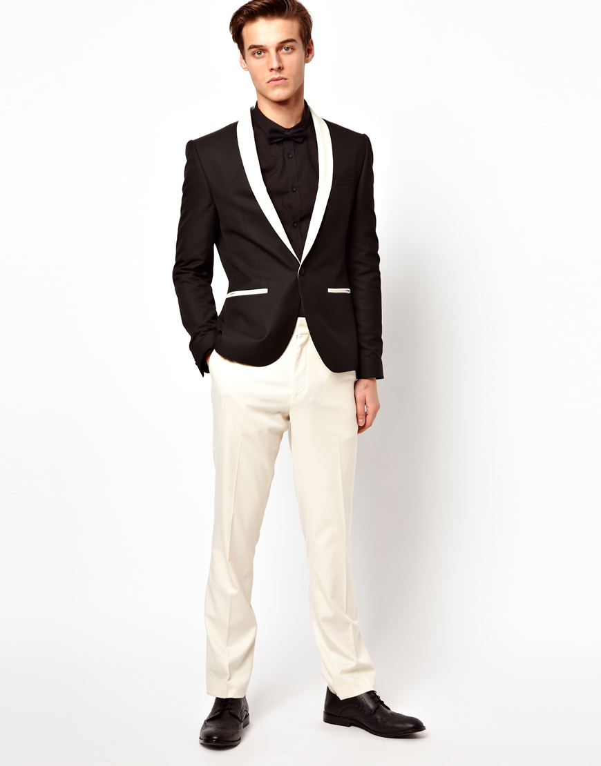 Asos Asos Slim Fit Tuxedo Suit Trousers in White for Men | Lyst