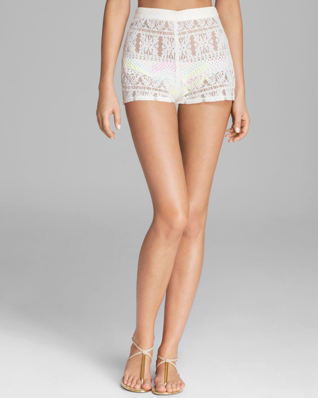 Zinke Layla High Waist Lace Shorts in White | Lyst