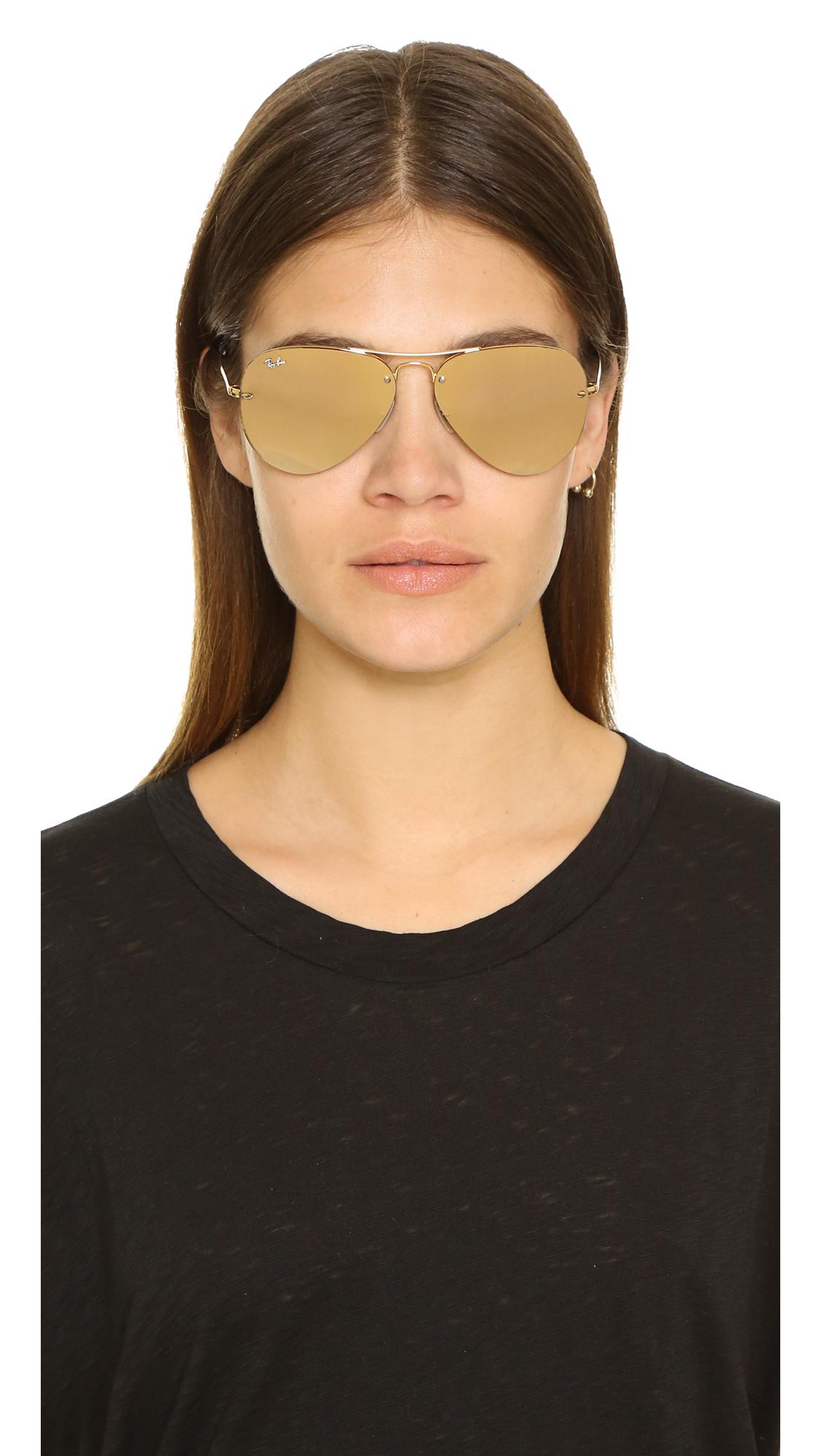 5e4631e756 Lyst - Ray-Ban Highstreet Mirrored Aviator Sunglasses in Metallic