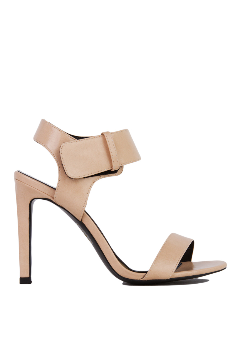 f63bc032dec Lyst - Akira Black Label Shades Velcro Ankle Strap Open Toe Nude ...