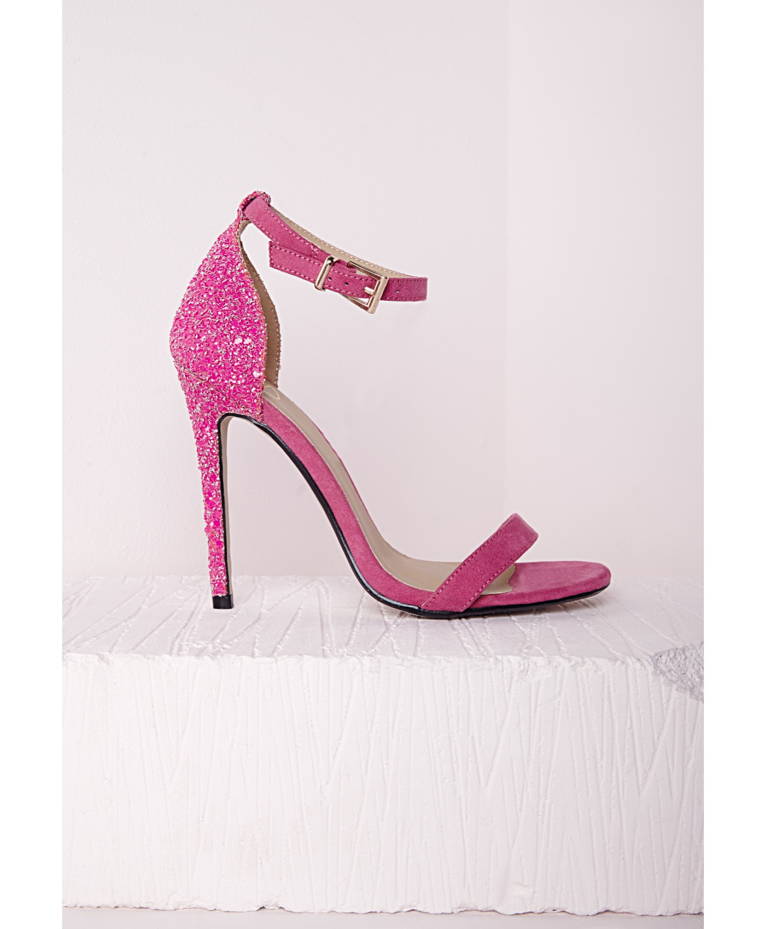 9811ec242ad Lyst - Missguided Barely There Strappy Heeled Sandals Fuchsia ...