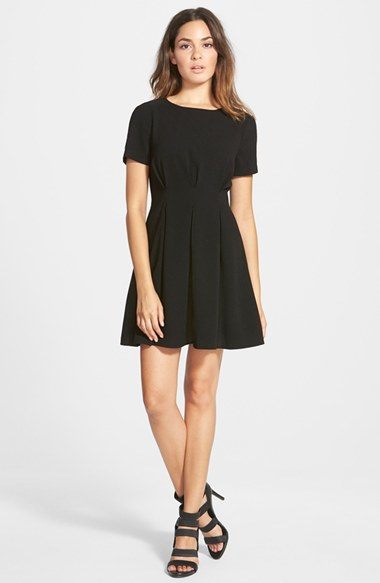 Lyst Lucca Couture Pleated Short Sleeve Fit Flare Dress In Black