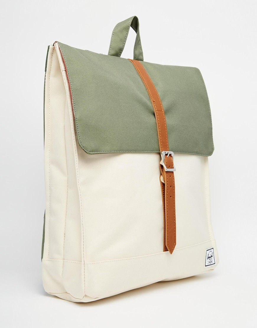 Lyst - Herschel Supply Co. City Backpack In Khaki Colour Block in Green ce38ac7aa8fab