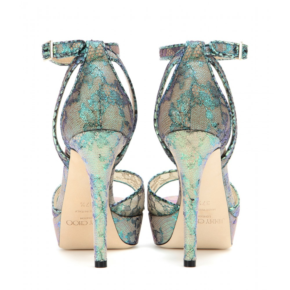 260e15b7a24b Jimmy Choo Kayden Lace and Snakeskin Platform Sandals in Blue - Lyst