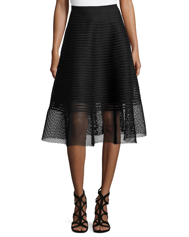 Sachin & babi Mesh Striped Midi Skirt in Black | Lyst