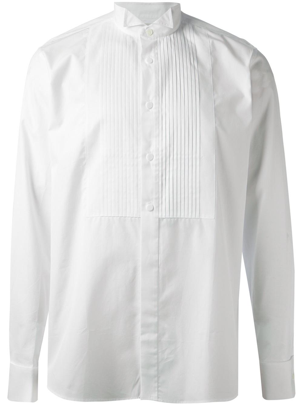 684eade6d3d998 Saint Laurent Pleated Front Bib Shirt in White for Men - Lyst