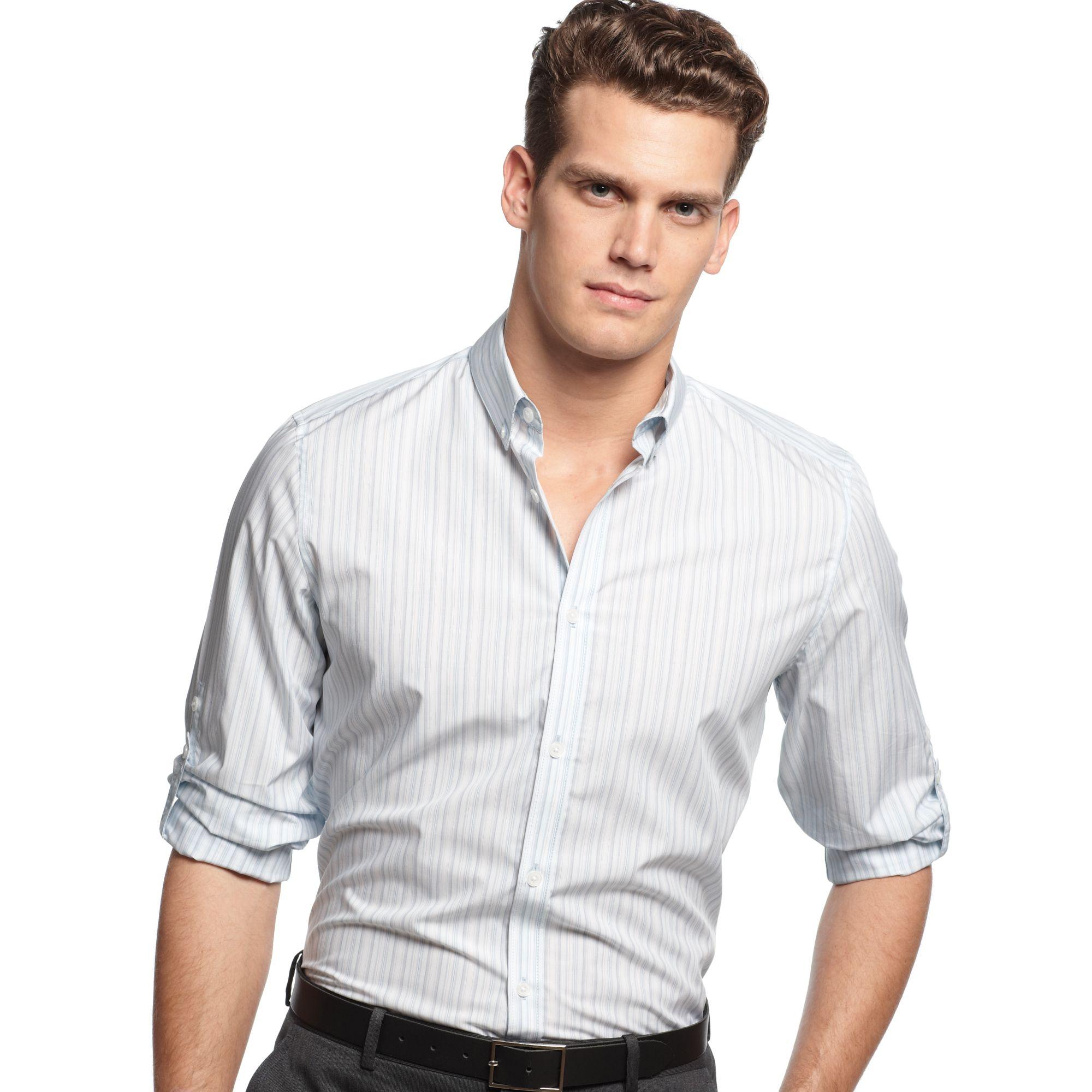 Calvin Klein Stripe Roll Tab Sleeve Shirt In Blue For Men