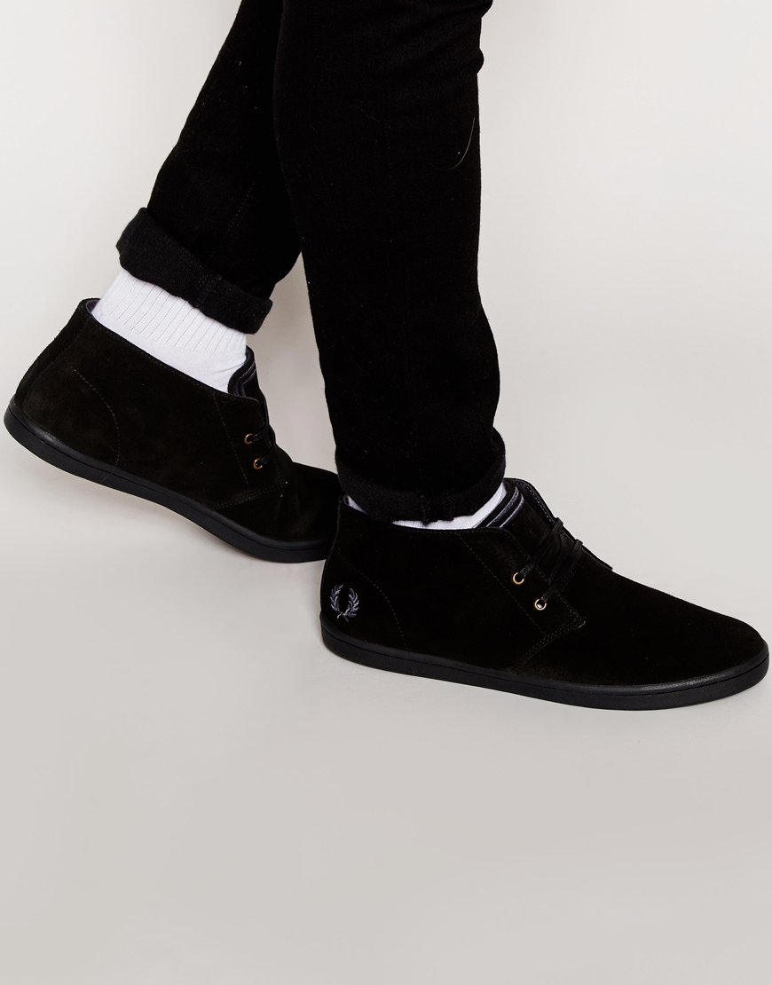 Fred perry Byron Mid Suede Chukka Boots in Black for Men | Lyst
