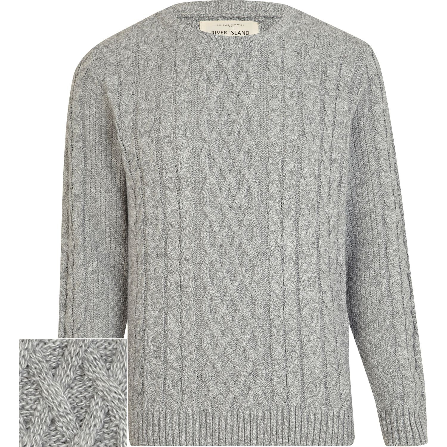 River island Light Grey Twist Chunky Cable Knit Sweater in Gray ...