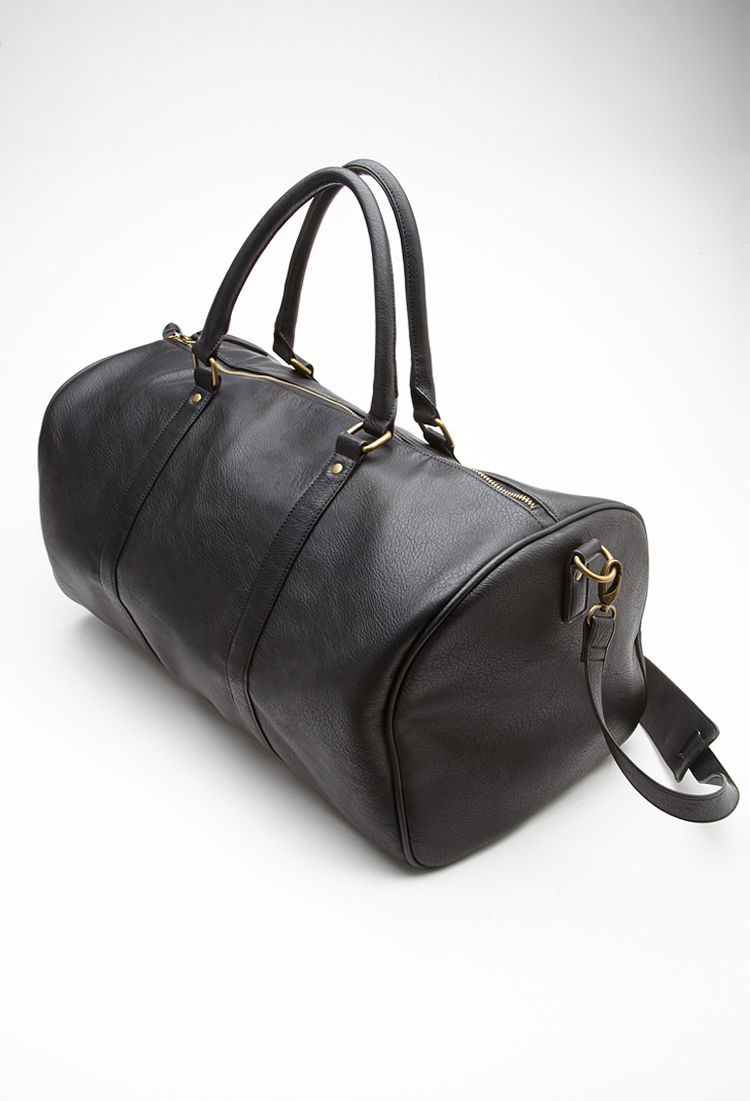 907a2411282a Forever 21 Faux Leather Duffle Bag in Black - Lyst