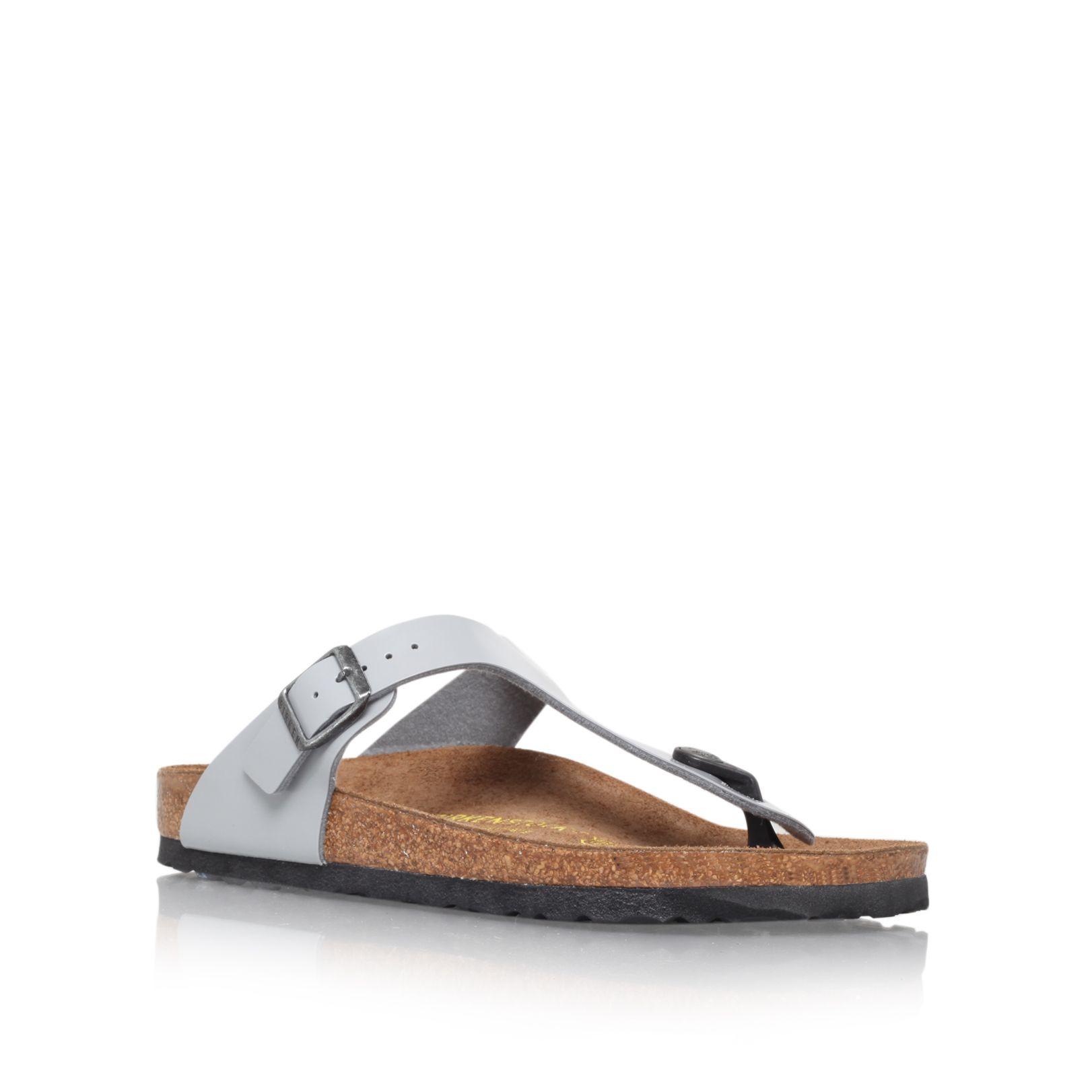 Birkenstock Gizeh Leather T Bar Sandals In Metallic Lyst