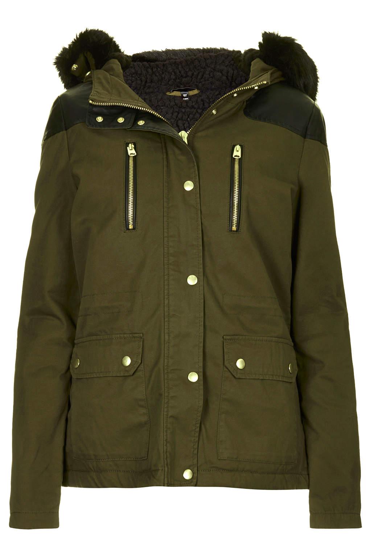 Topshop Short Padded Parka Jacket In Khaki Lyst
