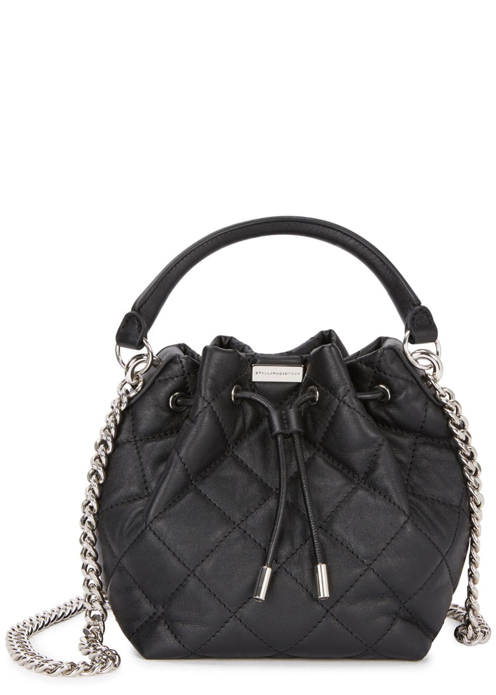 Lyst Stella Mccartney Beckett Black Quilted Bucket Bag
