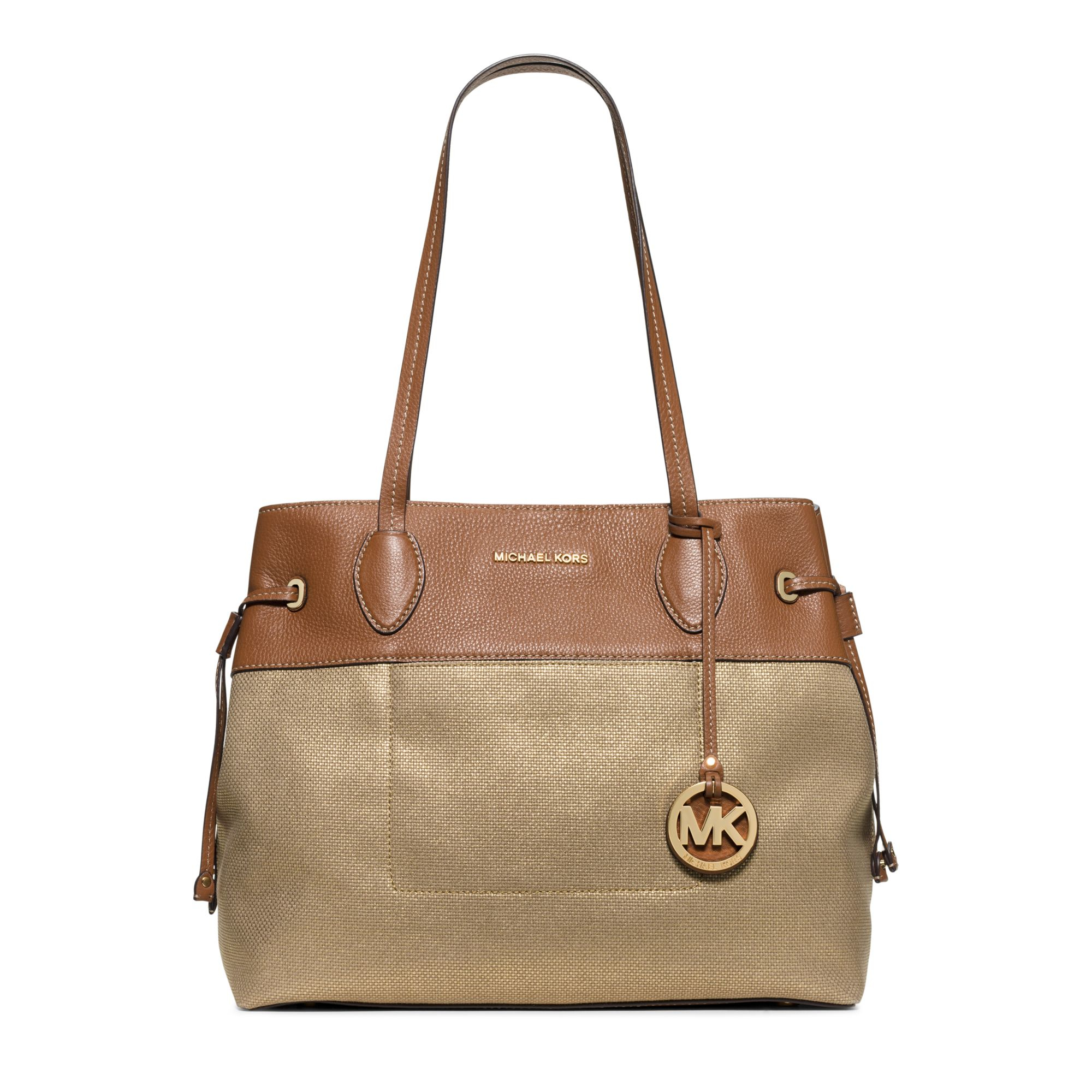 Bolsa Michael Kors Marina : Michael kors marina large canvas tote in metallic lyst