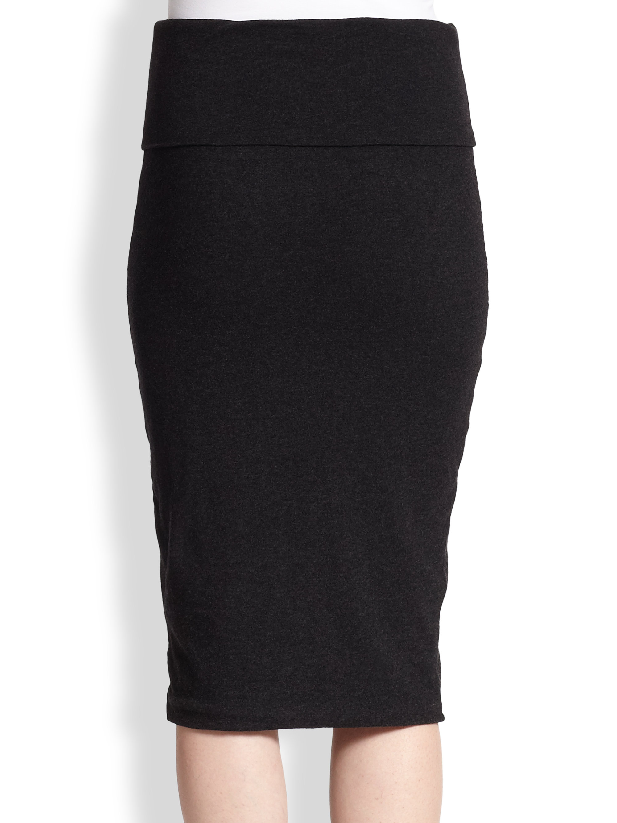 114fb4f15f James Perse Stretch Cotton Jersey Pencil Skirt in Black - Lyst